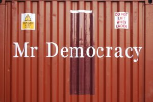 Mr Democracy outdoor sign